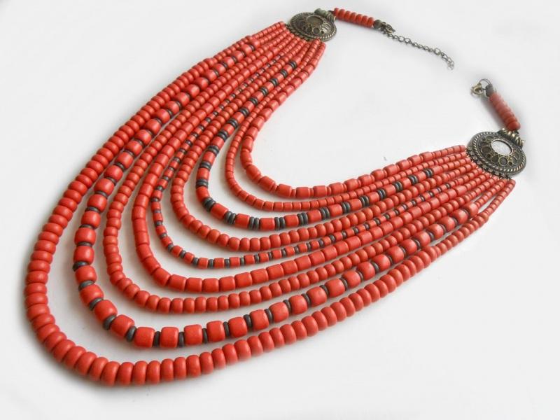 Ожерелье из згардой Красный Керамика ручной работы, г Розпутняк Любовь - фото 2