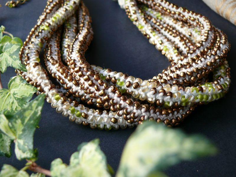Злато Белый бисер, нить, металлическа Рыбий Христина - фото 5