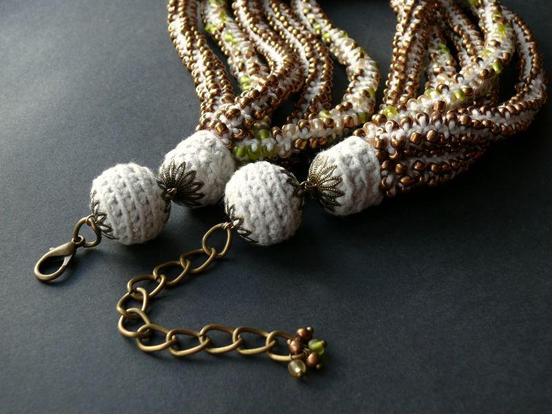 Злато Белый бисер, нить, металлическа Рыбий Христина - фото 2
