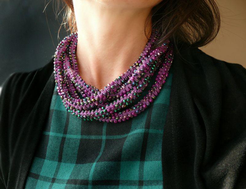 Дикий виноград Фиолетовый бисер, нить, металлическа Рыбий Христина - фото 1