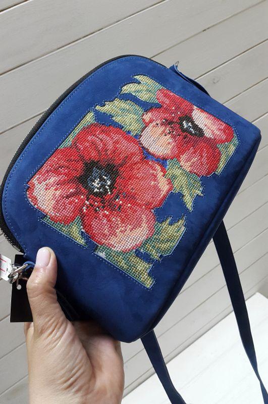 Сумка с вышивкой Синий Кожа, замш Рябчун Юлія - фото 2