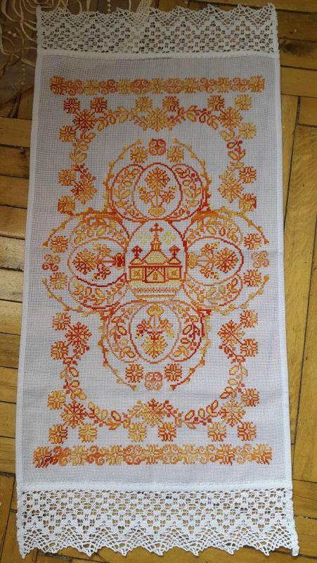 Пасхальная салфетка, рушник  канва, мулине Рябчун Юлія - фото 1