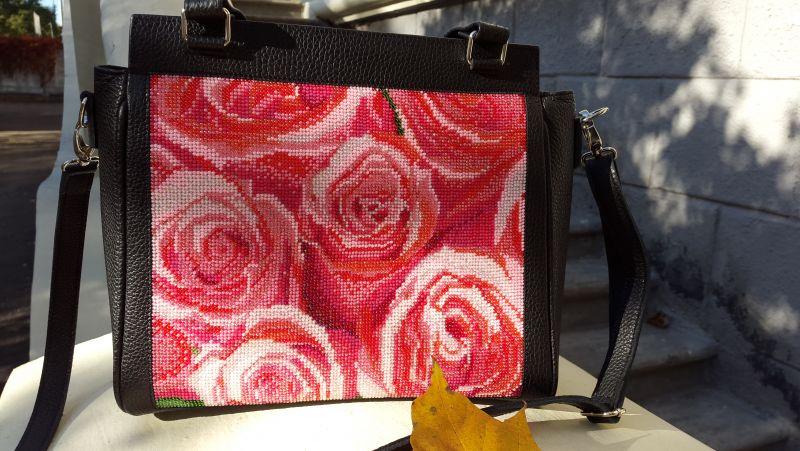 Кожанная сумка с вышивкой Черный кожа, бисер Рябчун Юлія - фото 3