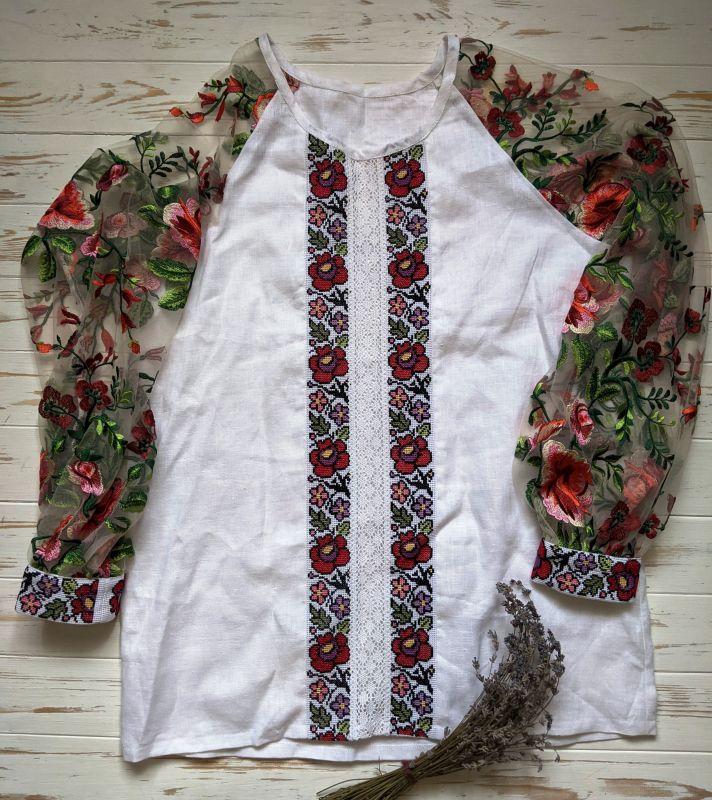 Блуза с ручной вышивкой Белый лен, кружево, мулине, фат Рябчун Юлія - фото 3