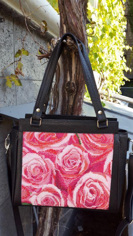 Кожанная сумка с вышивкой Черный кожа, бисер Рябчун Юлія - фото 1