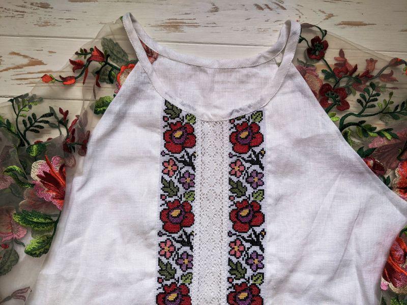 Блуза с ручной вышивкой Белый лен, кружево, мулине, фат Рябчун Юлія - фото 2