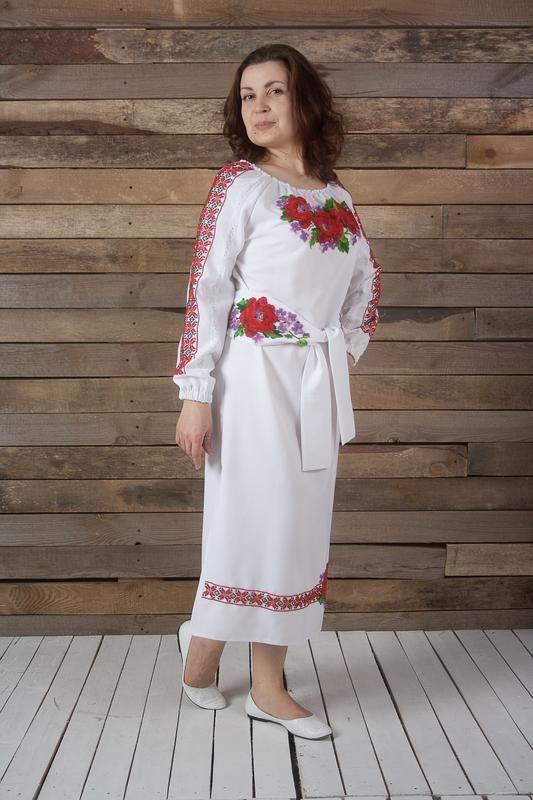 Платье с вышивкой бисером Белый габардин, бисер, кружево Рябчун Юлія - фото 3