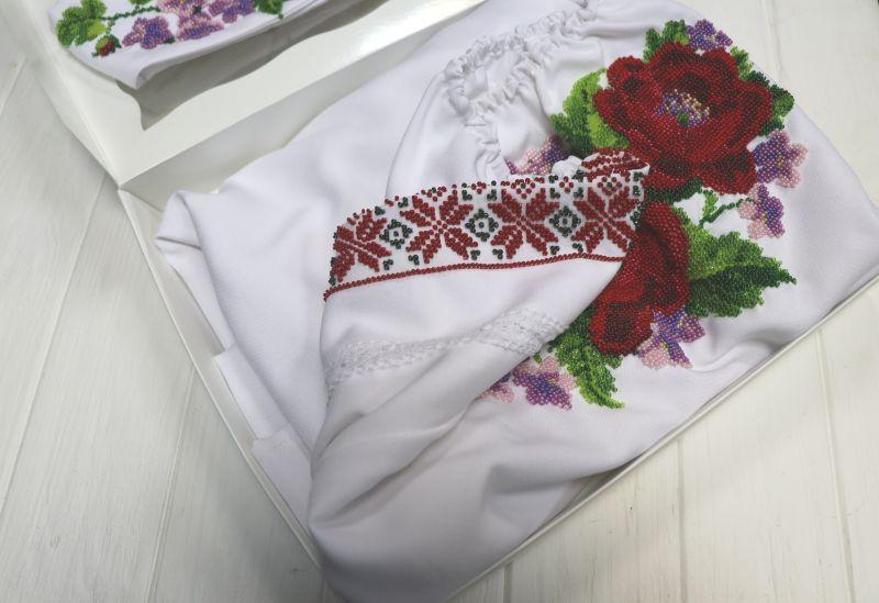 Платье с вышивкой бисером Белый габардин, бисер, кружево Рябчун Юлія - фото 2