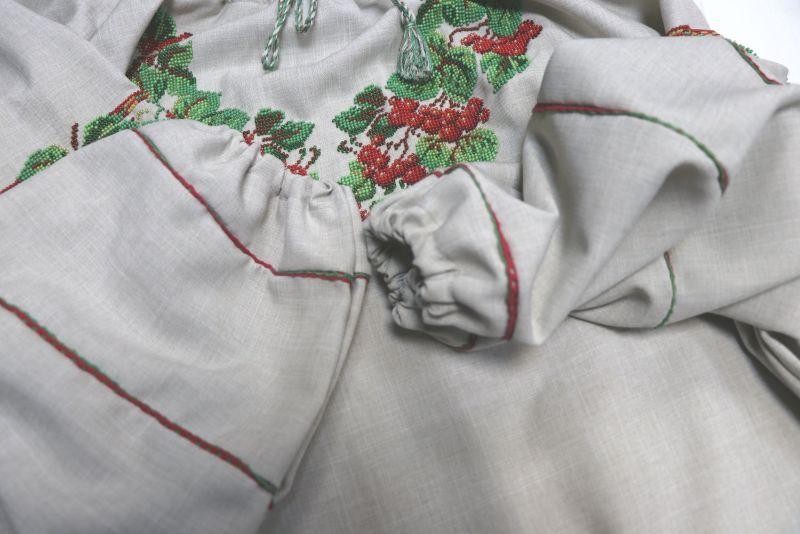 Сорочка-вышиванка с вышивкой бисеом Белый бисер, полотно Рябчун Юлія - фото 4