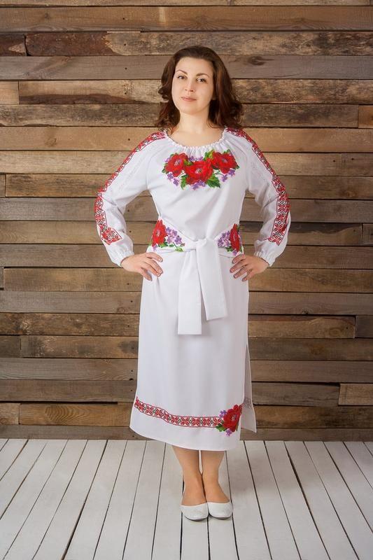 Платье с вышивкой бисером Белый габардин, бисер, кружево Рябчун Юлія - фото 1
