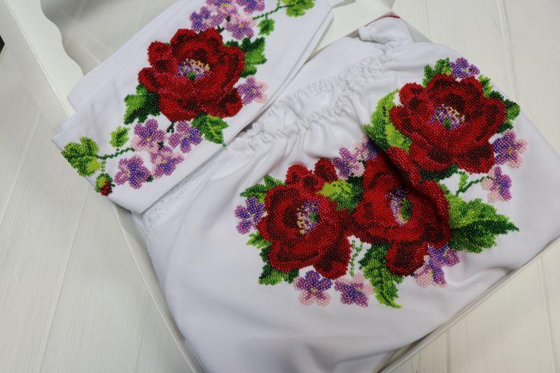 Платье с вышивкой бисером Белый габардин, бисер, кружево Рябчун Юлія - фото 4