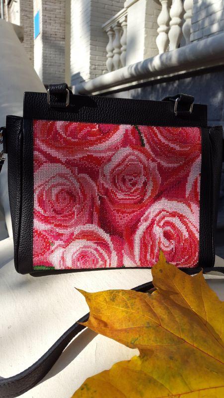 Кожанная сумка с вышивкой Черный кожа, бисер Рябчун Юлія - фото 4