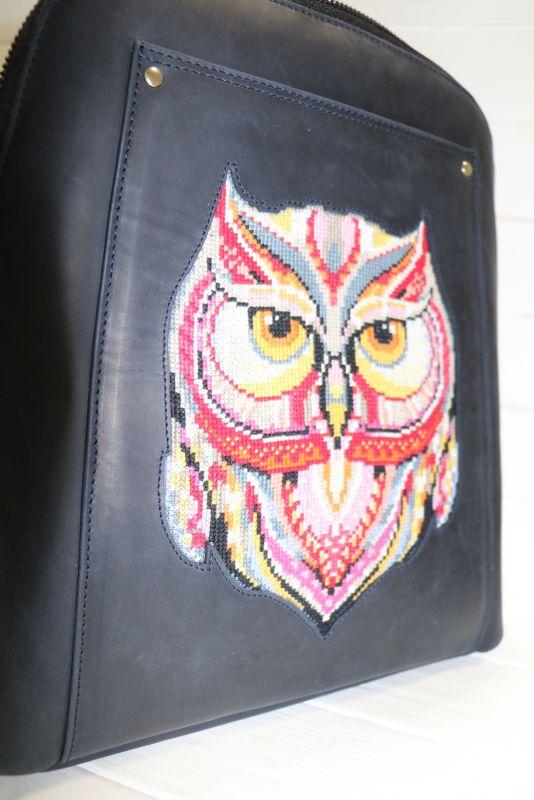 Кожанный Рюкзак с вышивкой  Черный Кожа, вышивальные нитки Рябчун Юлія - фото 2