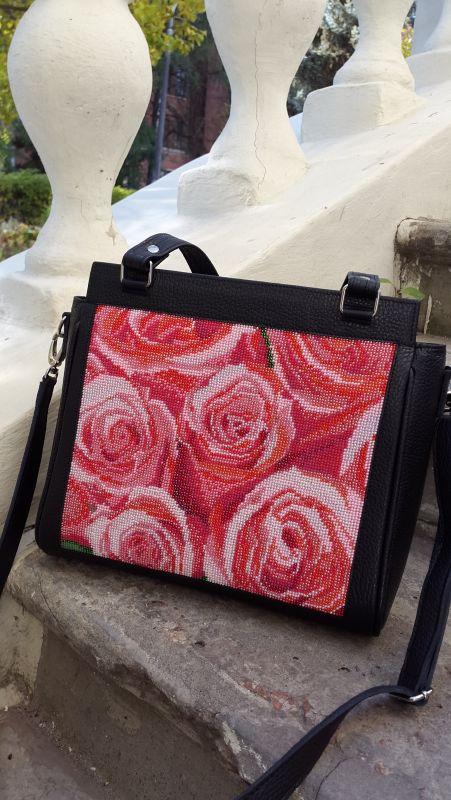 Кожанная сумка с вышивкой Черный кожа, бисер Рябчун Юлія - фото 6