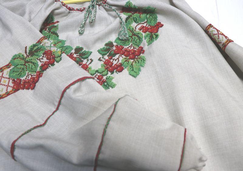 Сорочка-вышиванка с вышивкой бисеом Белый бисер, полотно Рябчун Юлія - фото 3