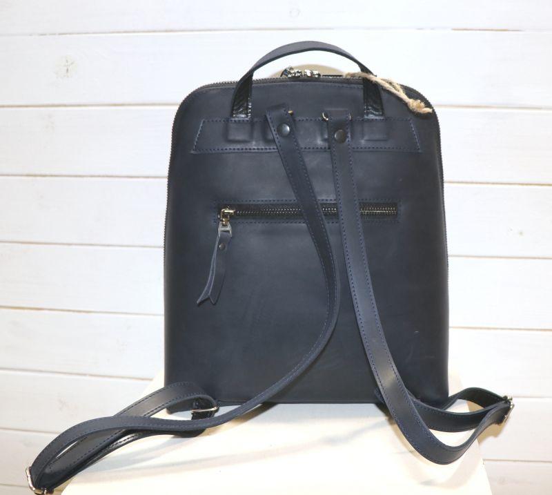Кожанный Рюкзак с вышивкой  Черный Кожа, вышивальные нитки Рябчун Юлія - фото 4