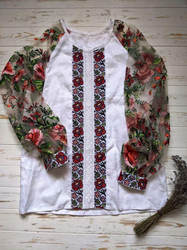 Блуза с ручной вышивкой Белый лен, кружево, мулине, фат Рябчун Юлія - фото 1
