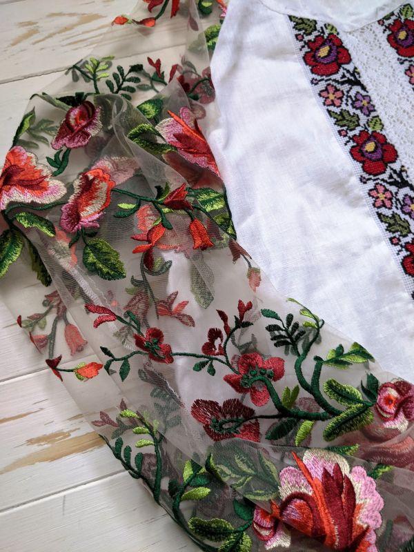 Блуза с ручной вышивкой Белый лен, кружево, мулине, фат Рябчун Юлія - фото 6