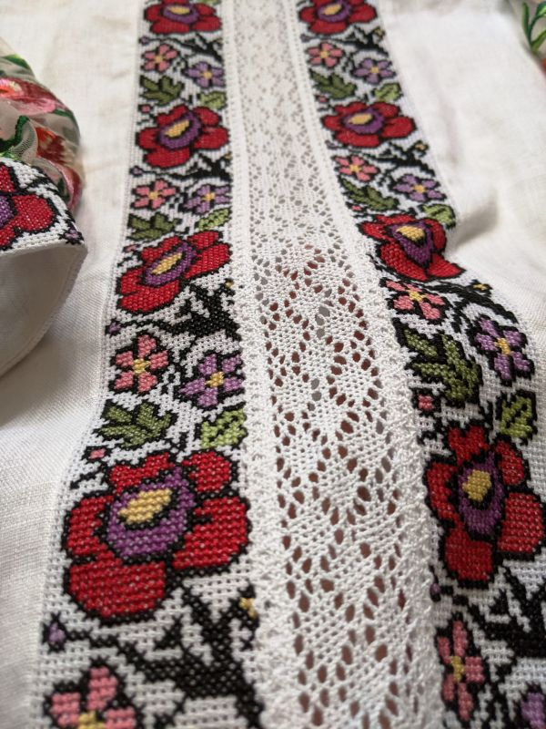 Блуза с ручной вышивкой Белый лен, кружево, мулине, фат Рябчун Юлія - фото 5