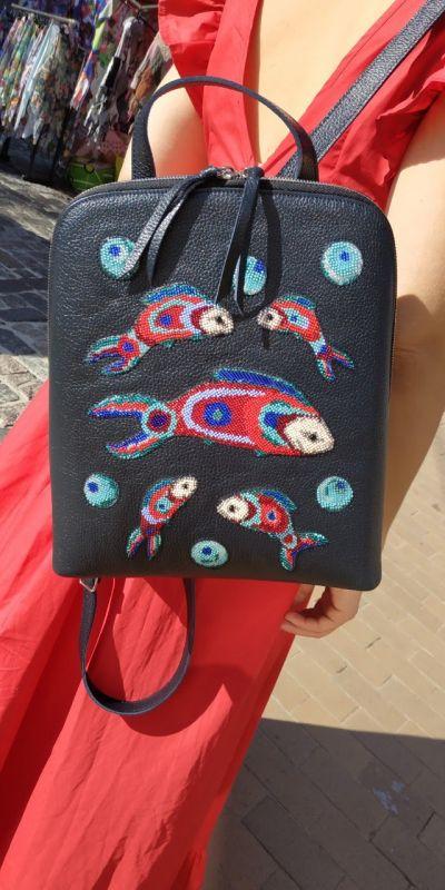 Рюкзак, сумка Черный Кожа, ручная вышивка бисе Рябчун Юлія - фото 1