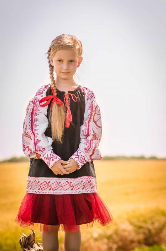 Детская вышиванка Черный 100% хлопок, мулине, крож Рябчун Юлія - фото 3