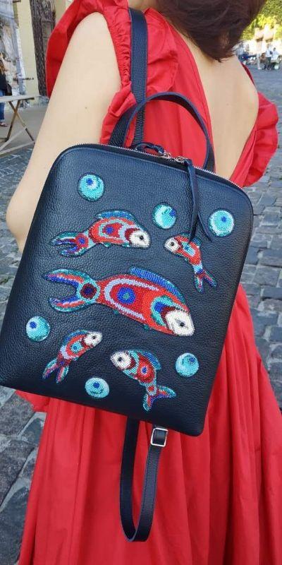Рюкзак, сумка Черный Кожа, ручная вышивка бисе Рябчун Юлія - фото 8