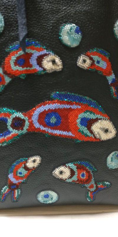 Рюкзак, сумка Черный Кожа, ручная вышивка бисе Рябчун Юлія - фото 6
