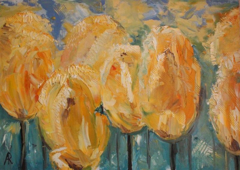 Желтые тюльпаны  холст, масло, лак Рыбалка Анна - фото 1