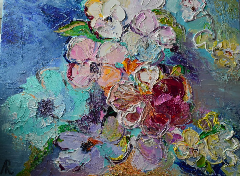 Композиция в голубых и розовых тонах  холст, масло, лак Рыбалка Анна - фото 1
