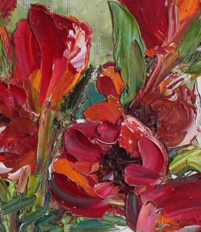 Тюльпаны на подоконнике  холст, масло, лак Рыбалка Анна - фото 3