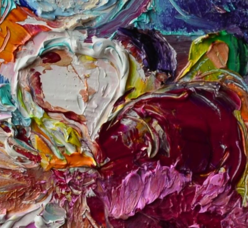 Композиция в голубых и розовых тонах  холст, масло, лак Рыбалка Анна - фото 3