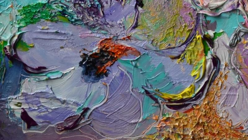 Композиция в голубых и розовых тонах  холст, масло, лак Рыбалка Анна - фото 2