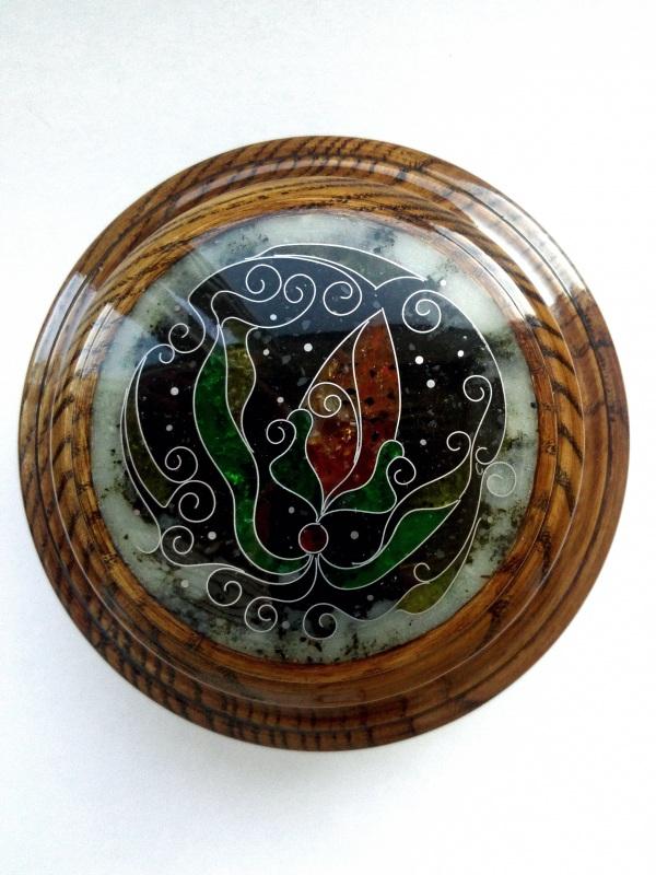Шкатулка  ясень, мрамор, янтарь, ст Шарапов Александр - фото 3