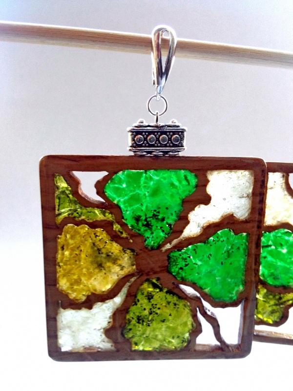 Ефектні дерев'яні сережки Різнобарвний дерево, скло Шарапов Олександр - фото 9