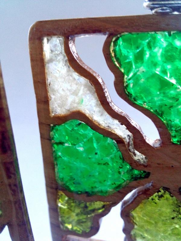 Ефектні дерев'яні сережки Різнобарвний дерево, скло Шарапов Олександр - фото 6