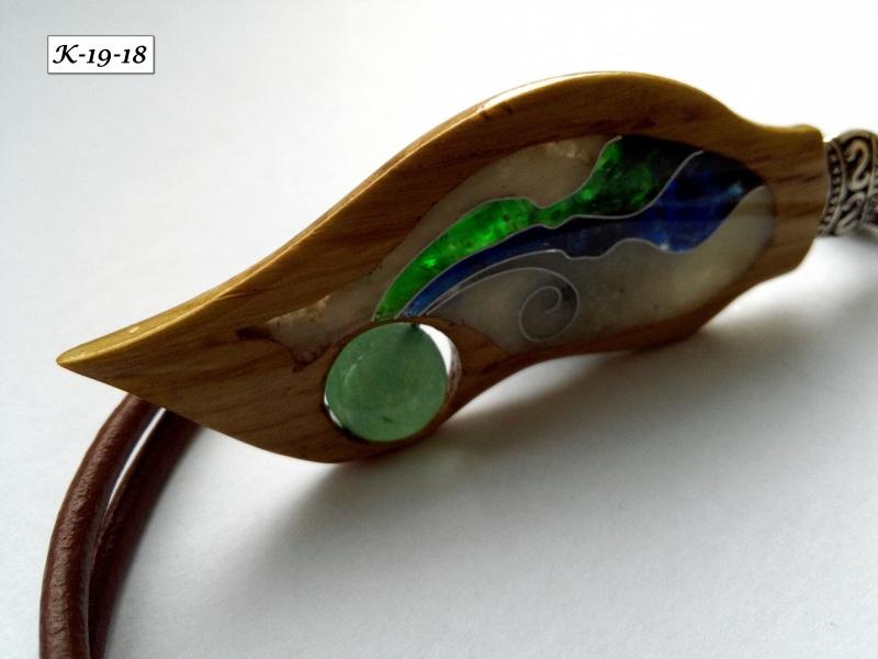 Кулон Разноцветный Дуб, стекло, нефрит, шнур Шарапов Александр - фото 8