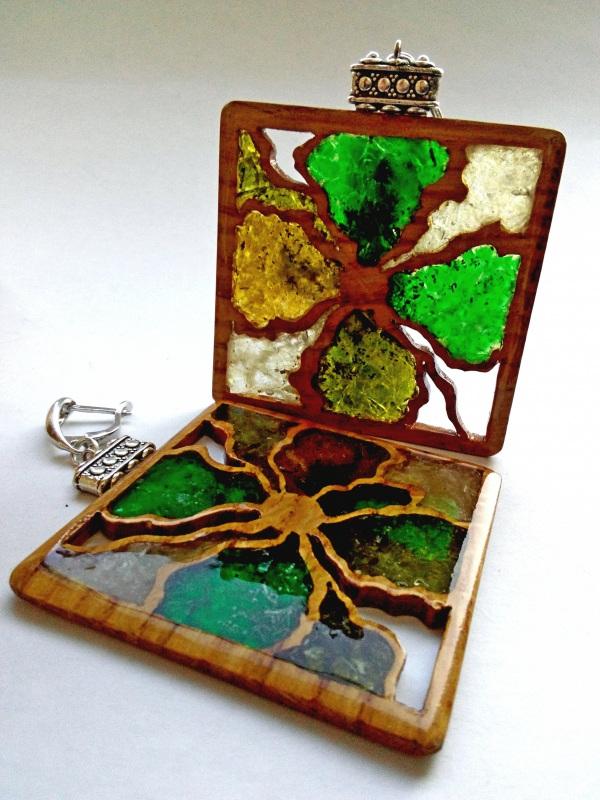Ефектні дерев'яні сережки Різнобарвний дерево, скло Шарапов Олександр - фото 3