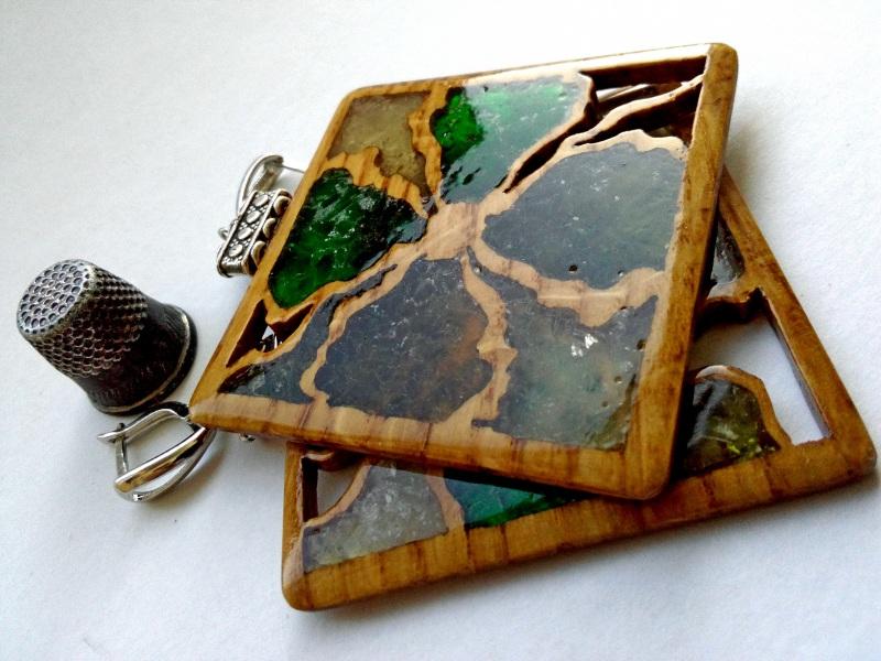 Ефектні дерев'яні сережки Різнобарвний дерево, скло Шарапов Олександр - фото 4