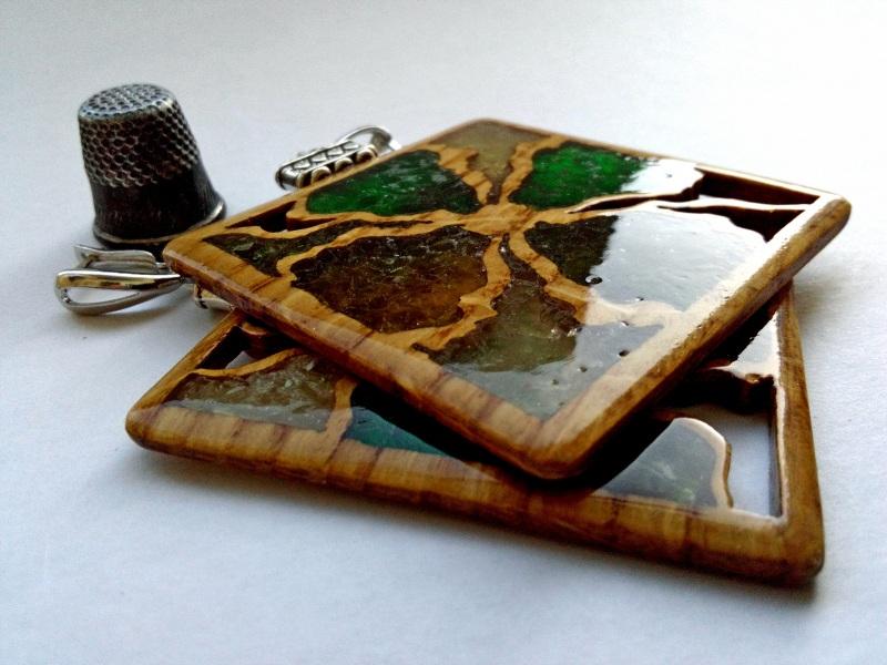 Ефектні дерев'яні сережки Різнобарвний дерево, скло Шарапов Олександр - фото 5