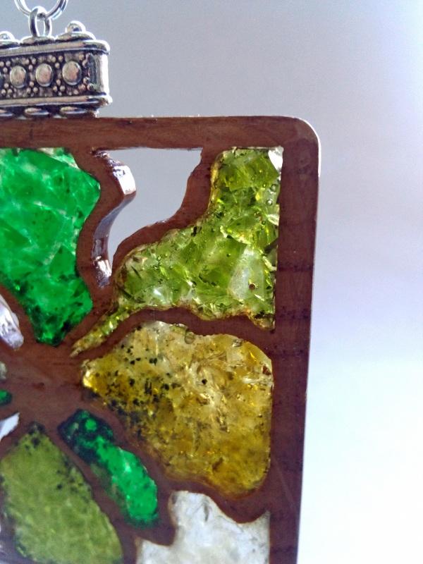 Ефектні дерев'яні сережки Різнобарвний дерево, скло Шарапов Олександр - фото 7