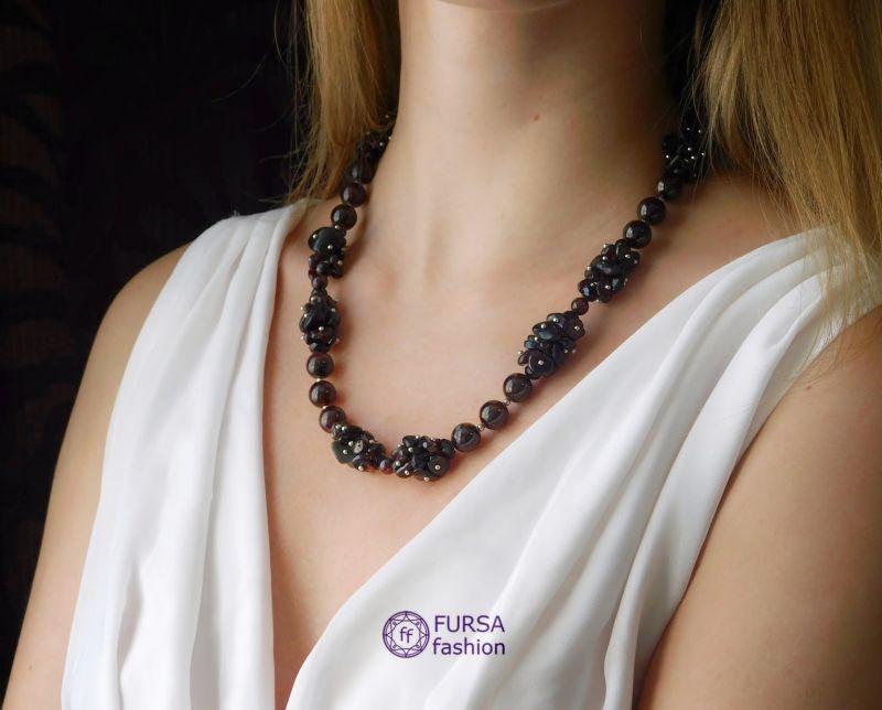 """Эксклюзивное ожерелье """"Блэк"""" Гранатовый Гранат Дизайн-студия """"Fursa fashion"""" - фото 1"""