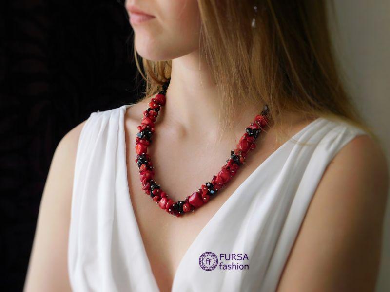 "Эксклюзивное ожерелье коралл + агат Красный Коралл, агат Дизайн-студия ""Fursa fashion"" - фото 1"