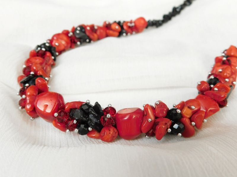 "Эксклюзивное ожерелье коралл + агат Красный Коралл, агат Дизайн-студия ""Fursa fashion"" - фото 6"