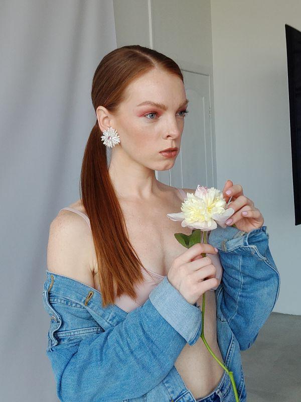 Серьги цветы из жемчуга Белый Натуральный  жемчуг, крис Швайковская Оксана - фото 13