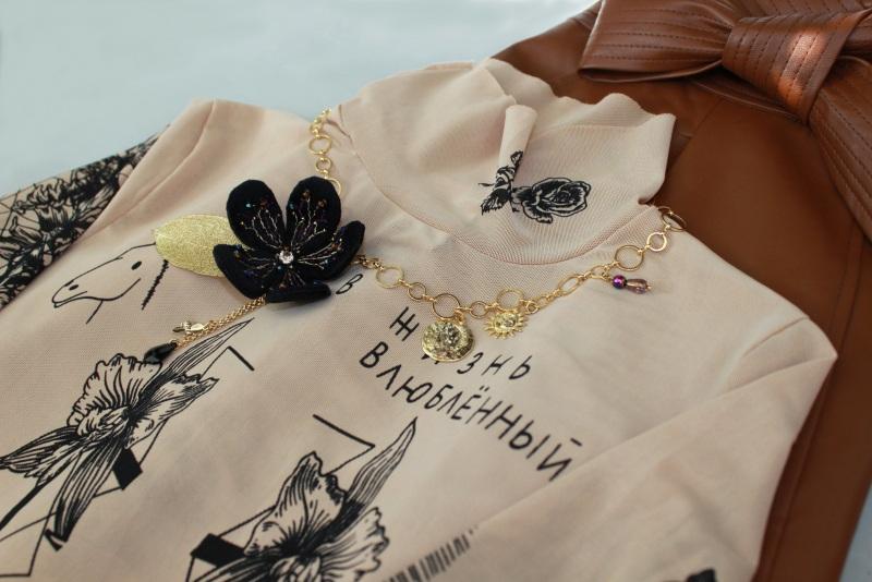 Колье-чокер с цепями, жемчугом и вышивкой Желтый Полозоченная Корейская фу Швайковская Оксана - фото 13