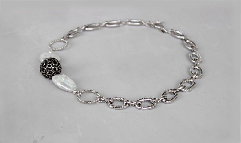 Чокер намисто із ланцюжками металевий і перлами Білий Натуральні барочні перли, Швайковська Оксана - фото 4