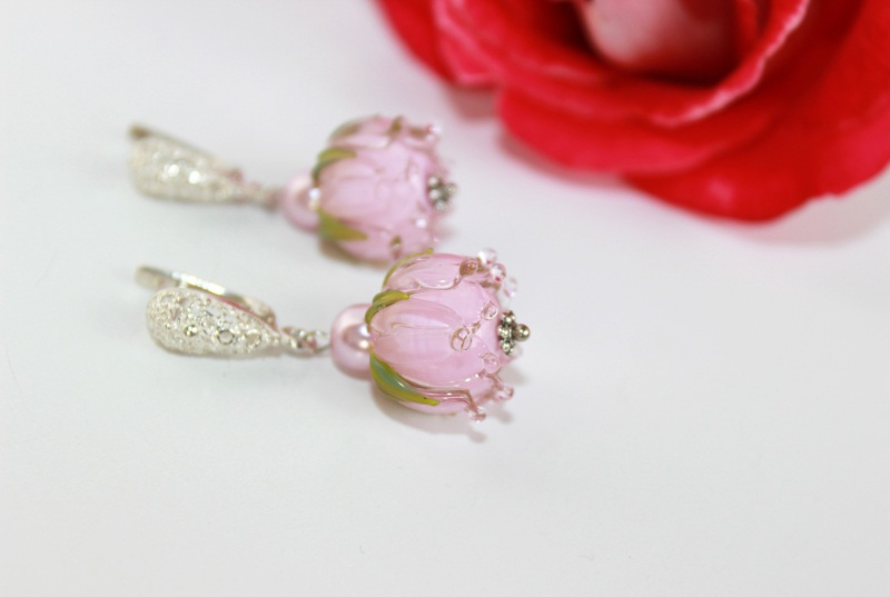 """Сережки квіти """"Ніжність"""" Рожевий Скляні намистини-квіти ру Швайковська Оксана - фото 3"""
