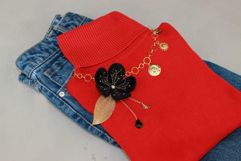 Колье-чокер с цепями, жемчугом и вышивкой Желтый Полозоченная Корейская фу Швайковская Оксана - фото 9