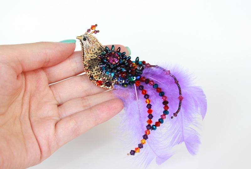 Брошь птичка Разноцветный японский бисер, французск Швайковская Оксана - фото 1