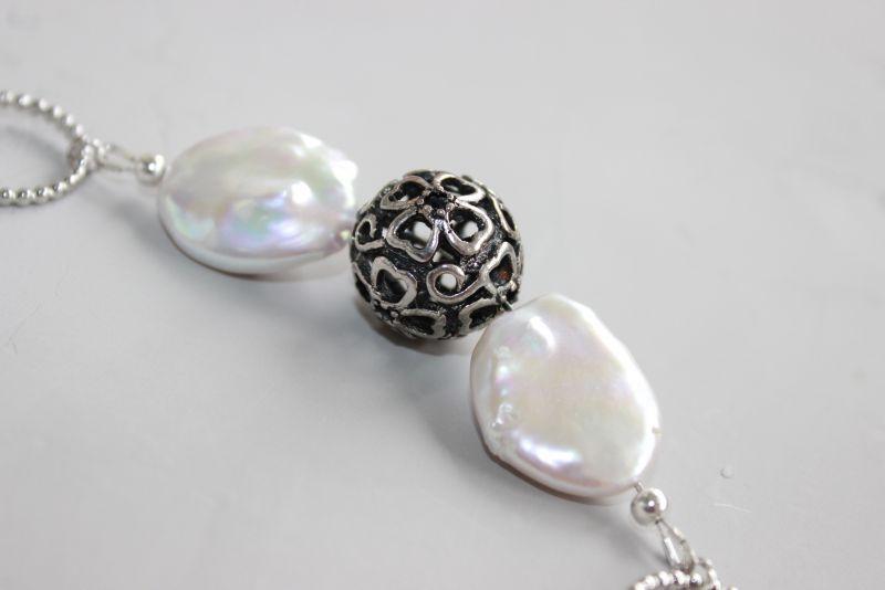 Чокер намисто із ланцюжками металевий і перлами Білий Натуральні барочні перли, Швайковська Оксана - фото 6